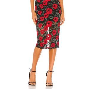 Revolve Lace Rose Pencil Skirt
